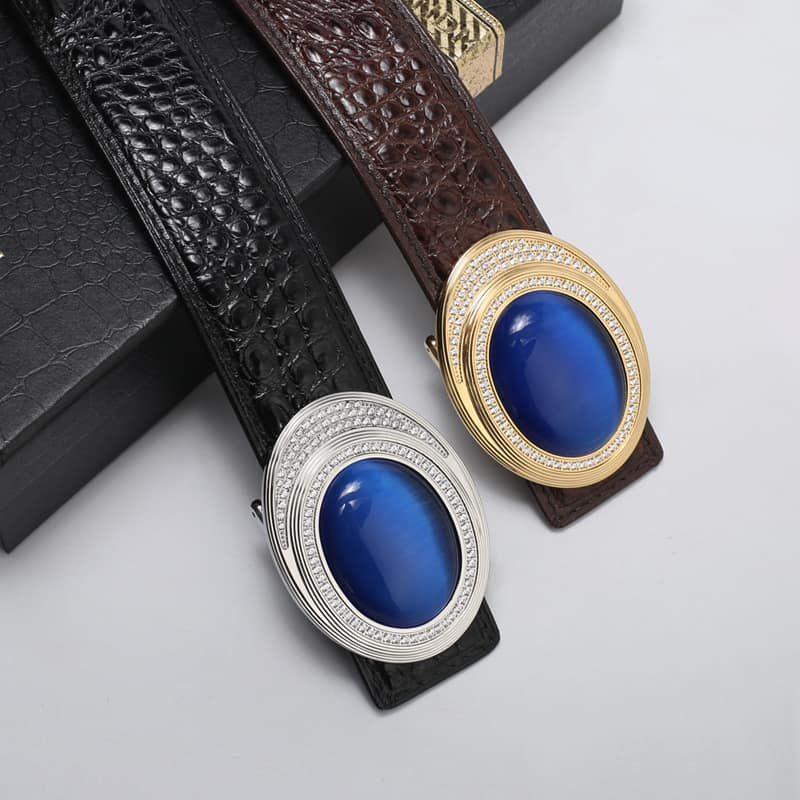 Crocodile skin leather belt with gold inlaid jade angel eye.PD532-details